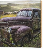 Old Dairy Farm Truck Wood Print