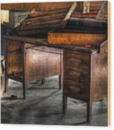 Old Desk In The Attic Wood Print