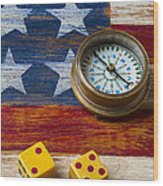 Old Dice And Compass Wood Print by Garry Gay