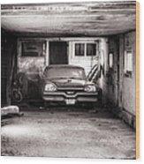 Old Dodge Car In Garage Wood Print