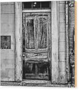 Old Door - Bw Wood Print