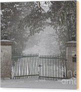 Old Driveway Gate In Winter Wood Print