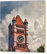 Old Dupage County Courthouse Clouds Wood Print