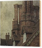 Old English House With Cat Wood Print