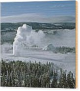 3m09132-01-old Faithful Geyser In Winter Wood Print