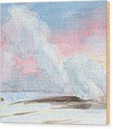 Old Faithful Sunrise Watercolor Painting Wood Print