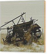 Old Farm Equipment Northwest North Dakota Wood Print by Jeff Swan