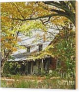 Old Farm House Behind Color Wood Print