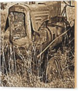 Old Farm Tractor In Sepia 1 Wood Print