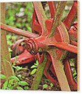 Old Farm Tractor Wheel Wood Print