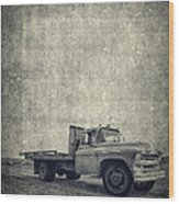 Old Farm Truck Cover Wood Print