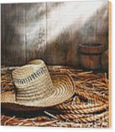 Old Farmer Hat And Rope Wood Print