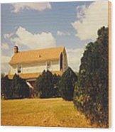 Old Farmhouse Landscape Wood Print
