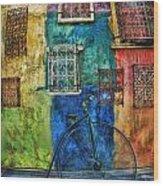 Old Fashion Bike And Blue Wall Wood Print