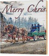 Old Fashion Merry Christmas Wood Print