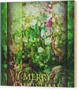 Old Fashioned Merry Christmas - Roses And Babys Breath - Holiday And Christmas Card Wood Print