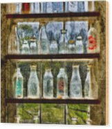 Old Fashioned Milk Bottles Wood Print by Susan Candelario