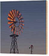 Old Fashioned Wind Mill Wood Print