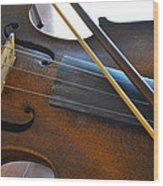 Old Fiddle And Bow Still Life 2 Wood Print