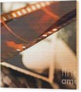 Old Film Strip And Photos Background Wood Print by Michal Bednarek