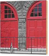 Old Fire Hall Doors Wood Print