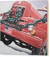 Old Firetruck At Christmas Wood Print