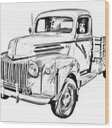 Old Flat Bed Ford Work Truck Illustration Wood Print