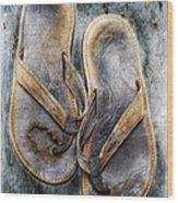 Old Flip Flops Wood Print