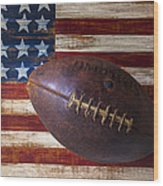 Old Football On American Flag Wood Print