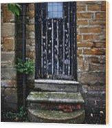 Old Forgotten Black Front Door Wood Print