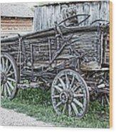 Old Freight Wagon - Montana Territory Wood Print