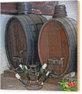 Old French Wine Casks Wood Print