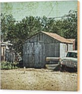 Old Garage And Car In Seligman Wood Print