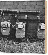 Old Gas Meters Wood Print