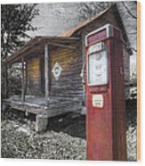 Old Gas Pump Wood Print by Debra and Dave Vanderlaan