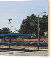 Old Gas Station Wood Print