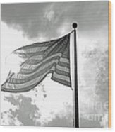 Old Glory Bw Wood Print