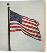 Old Glory In The Wind Wood Print
