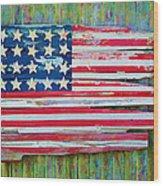 Old Glory In Wood Impression Wood Print