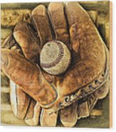 Old Gloves Wood Print