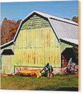 Old Green Barn South Of Rosman Wood Print