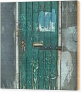 Old Green Door In Quarter Wood Print