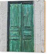 Old Green Door Wood Print