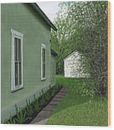 Old Green House Wood Print