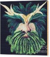Old Green Man Winter Wood Print
