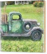 Old Green Pickup Truck Wood Print