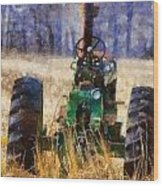 Old Green Tractor On The Farm Wood Print