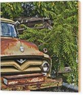 Old Green Truck Wood Print