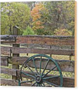 Old Green Wagon Wheel Wood Print