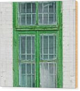 Old Green Wooden Window Wood Print